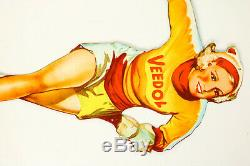 Veedol Pin Up Blechschild Tankstelle Werbung Petromobilia Vintage Tin Sign 50er