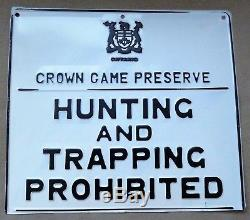 Very Good ONTARIO CROWN GAME PRESERVE HUNTING TRAPPING Embossed Tin Sign Vintage