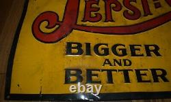 Very Rare Double Dot Vintage Drink Pepsi Cola Soda 5 Cent Advertising Tin Sign