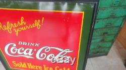 Very Rare Vintage Dated 1927 Drink Coca Cola Sold Here Ice Cold 29 Tin Sign