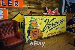 Vintage 10' ORIGINAL Vernors Tin Advertising Soda POP 1940's embossed Sign RARE
