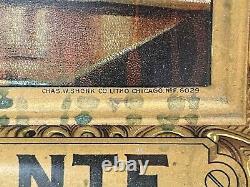 Vintage 1900s Self Framed Duffys Malt Whiskey Tin Sign chas. Shonk litho Rare