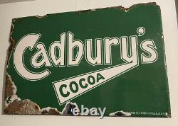 Vintage 1920s/30s Cadburys Chocolates Enamel Tin Green Advertising Sign