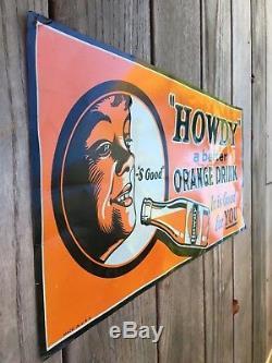 Vintage 1920s Howdy Orange Drink 19 Tin Sign