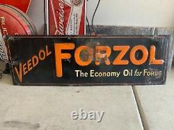 Vintage 1927 Veedol Forzol Embossed Tin Strip Sign