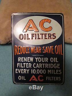 Vintage 1930 S Original Ac Oil Filters Tin Sign Embossed