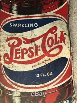 Vintage 1930's PEPSI Double Dot Soda Cola Die Cut Bottle Tin Advertising SIGN