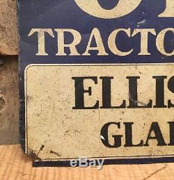 Vintage 1930s FORDSON & OLIVER Tractors Tin Dealer Advertising Sign Gladstone NJ