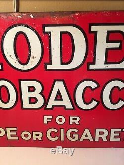 Vintage 1930s Model Tobacco Tin Sign Antique Tobbaciana Advertising