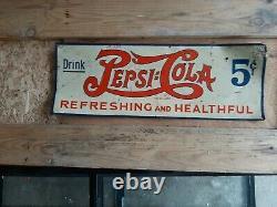 Vintage 1930s Pepsi-Cola 5c Double Dot Soda Tin Sign Refreshing and Healthful