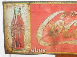 Vintage 1934 Tin Drink Coca Cola Tin Embossed Sign