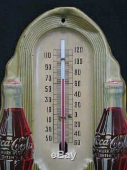 Vintage 1940 Original 16 Coca Cola Tin Thermometer Sign Soda Bottles Deco