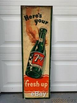 Vintage 1940's 7 Up Bottle Tin Metal Advertising Sign