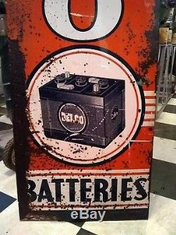 Vintage 1940's Delco Batteries Vertical Tin Sign 18X70 AC GM Gas Station Old