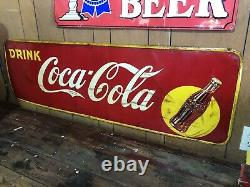 Vintage 1940s Drink Coca Cola Soda Advertising Tin Sign Large 57 x 17 Canada