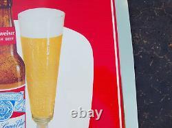 Vintage 1950's BUDWEISER Tin Over Cardboard Advertising Beer Sign Anheuser NOS