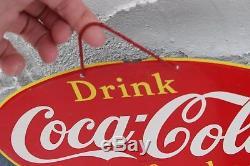 Vintage 1950's Coca Cola Tin Menu Board Soda Pop Metal Sign Advertising