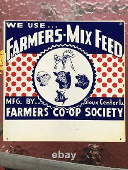 Vintage 1950's Farmers Mix Feed Pig Cow Chicken Farm Feed 12x12 Tin Sign Sioux