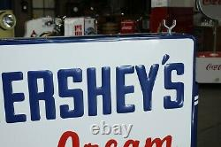 Vintage 1950's Hershey's Ice Cream Soda' Candy Double Sided Tin Sign