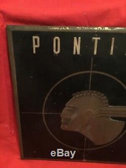 Vintage 1950's Pontiac Indian Chief Car Dealership Gas Oil Tin Sign