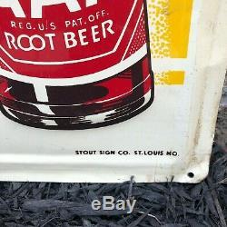 Vintage 1950's Tripple AAA Root Beer Tin Tacker Embossed Metal Sign Soda Mint