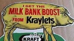 Vintage 1950s 60's Kraft Kraylets Pig Hog Feed Farm Embossed Tin sign NEAR MINT