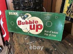 Vintage 1950s Bubble Up Lemon Lime Soda Metal Tin Advertising Sign 28x12
