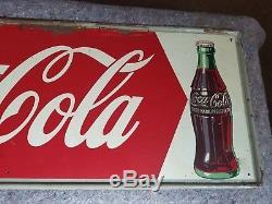 Vintage 1950s Coca Cola Metal Tin Sign Soda Pop General Store Parlor Cafe Diner