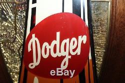 Vintage 1950s DODGER COLA die-cut Bottle Tin Advertising Sign NOS 65