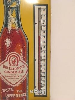 Vintage 1950s Large 25 x 9 Buffalo Rock Ginger Ale Tin Metal Thermometer Sign