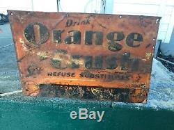 Vintage 1950s Orange Crush Embossed Tin Advertising Sign