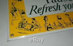 Vintage 1950s Pause Refresh Yourself Coca Cola Tin TOC Advertising Sign Bottle