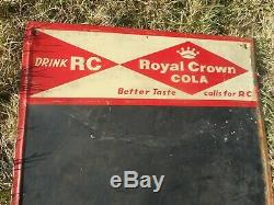 Vintage 1950s ROYAL CROWN RC COLA SODA POP ADVERTISING TIN CHALKBOARD SIGN