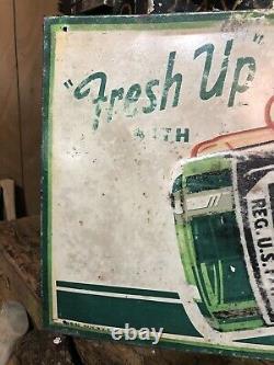 Vintage 1950s Seven-Up 7UP Soda Bottle Metal Tin Advertising Sign