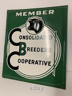 Vintage 1955 Breeders Tin Sign Die Cut Original Farm Bull Cow Seed corn