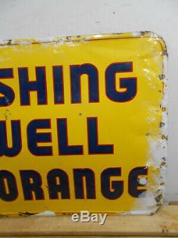 Vintage 1956 Wishing Well Orange Cola 27 X 19 Soda Bottle Tin Sign Rare