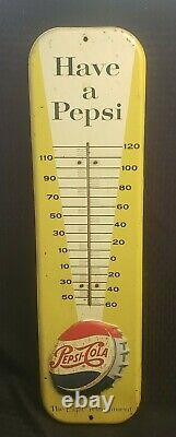 Vintage 1957 Have A Pepsi Cola Soda Tin Embossed Thermometer 27 Sign ORIGINAL