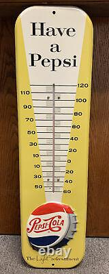 Vintage 1957 Have A Pepsi, The Light refreshment Tin Embossed Thermometer 27 NM