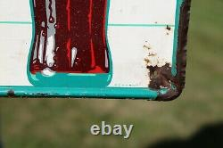 Vintage 1960's Coca Cola Fishtail Sign Bottle Metal Tin 31 3/4 x 11 3/4 MCA 43