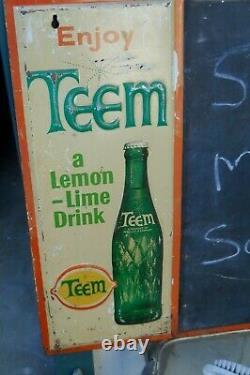 Vintage 1960's Enjoy, Team With Menu Side Press Tin Sign Sign 26 W X 22l