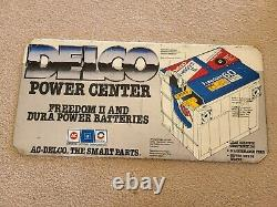 Vintage 1970's Delco Freedom II Battery 20 Rack Topper Tin Sign