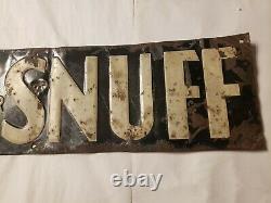 Vintage 20s-30s Navy Snuff Embossed Tin Tacker Advertising Sign 22.5x4 door push
