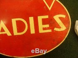 Vintage 2-sided Conoco Gas Oil Ladies Tin Restroom flange Sign red & white