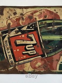 Vintage 30 1940s 7 UP FRESH UP Painted Tin Soda Pop Advertising Sign