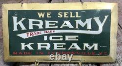 Vintage 30s Tin Over Cardboard KREAMY ICE KREAM Lyndonville VT Advertising Sign