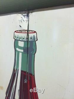 Vintage 37 X 19 White Tin Framed Coca Cola Bottle Sign RARE 4-40 USA