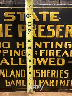 Vintage 50s NO HUNTING TRAPPING FIREARMS MAINE Game Preserve Tin Embossed Sign