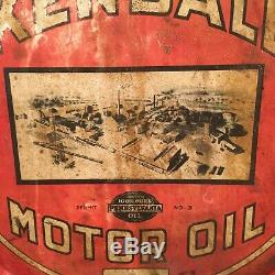 Vintage 5 Gal KENDALL Motor Oil ROCKER Tin Can Gas Station W Auto Works Graphic