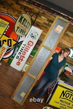 Vintage 6 1/2 ft WOLF'S HEAD Tin Motor Oil Sign ORIGINAL Dealer Gas Station Adv