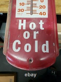 Vintage 8 x 27 Inch Dr. Pepper Hot or Cold Tin Sign Thermometer